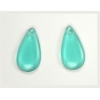 Glass Bead Teardrops 20x10mm Strung - Blue Zircon